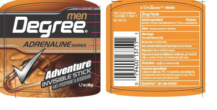 Degree Men Adventure (Aluminum Zirconium Tetrachlorohydrex Gly) Stick [Conopco Inc. D/b/a Unilever]