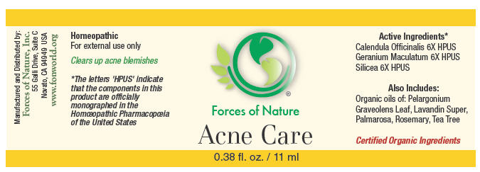 Acne Care (Calendula Officinalis Flowering Top, Geranium Maculatum Root, And Silicon Dioxide) Solution/ Drops [Forces Of Nature]