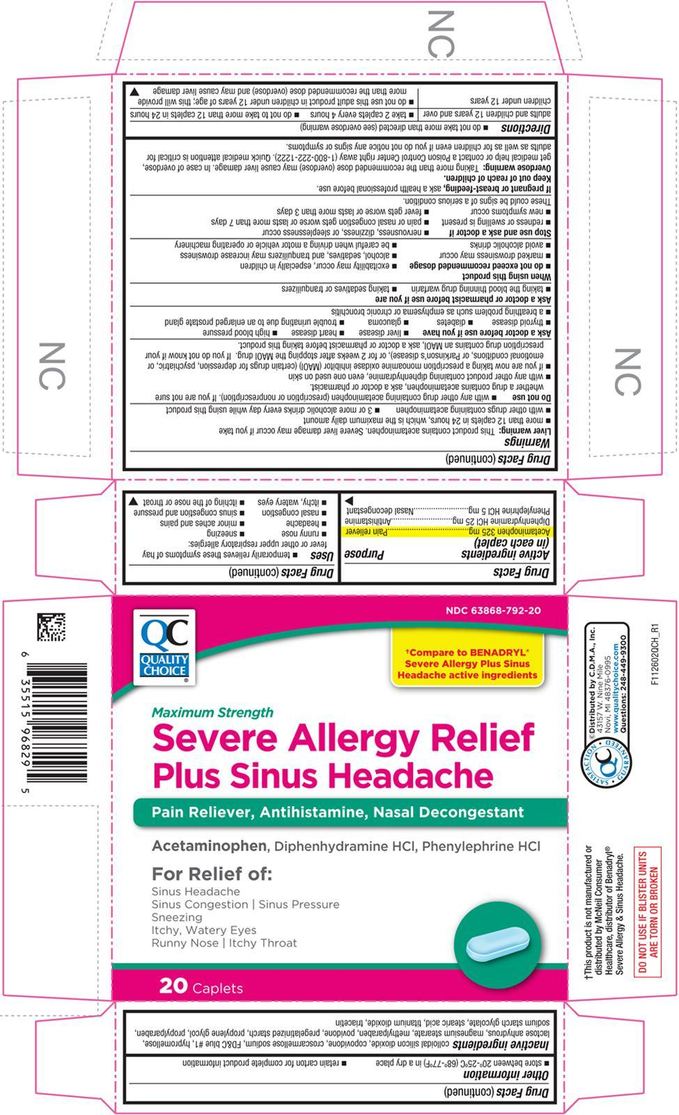 Severe Allergy Relief Plus Sinus Headache (Acetaminophen, Diphenhydramine Hydrochloride, And Phenylephrine Hydrochloride) Tablet, Coated [Chain Drug Marketing Association]