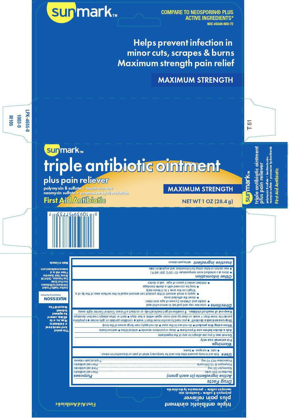 Sunmark Triple Antibiotic Plus Pain Relief (Polymyxin B Sulfate, Bacitracin Zinc, Neomycin Sulfate, And Pramoxine Hydrochloride) Ointment [Mckesson]