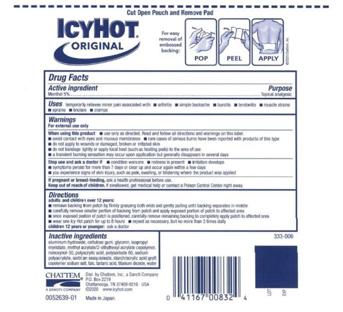 """Principal Display Panel ICY HOT®   MEDICATED  PATCH Menthol 5% EXTRA STRENGTH BACK and Large Areas Contains 1 Patches 3-15/7"""" x 7-13/16"""" (10 cm x 20 cm) each"""