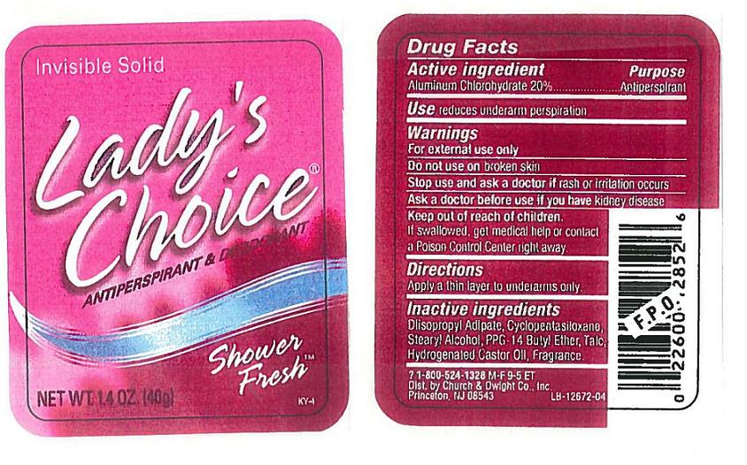 Ladys Choice Invisible Solid Antiperspirant Deodorant Shower Fresh (Aluminum Chlorohydrate) Stick [Church & Dwight Co., Inc.]
