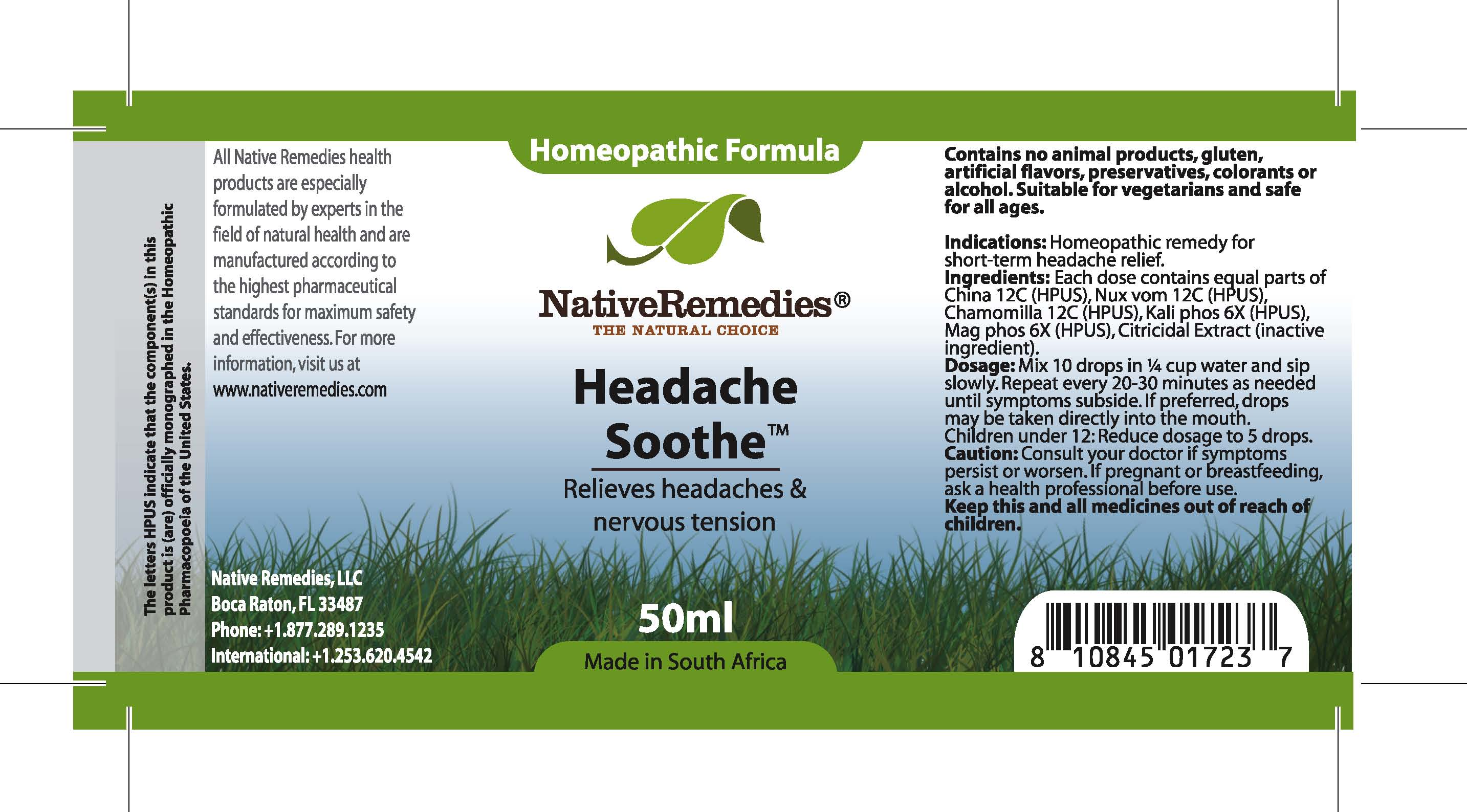 Headache Soothe (China , Nux Vom, Chamomilla, Kali Phos , Mag Phos ) Tincture [Feelgood Health]