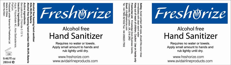 Freshorize Alcohol Free Foaming Hand Sanitizer (Benzalkonium Chloride) Lotion [Freshorize, Ltd.]