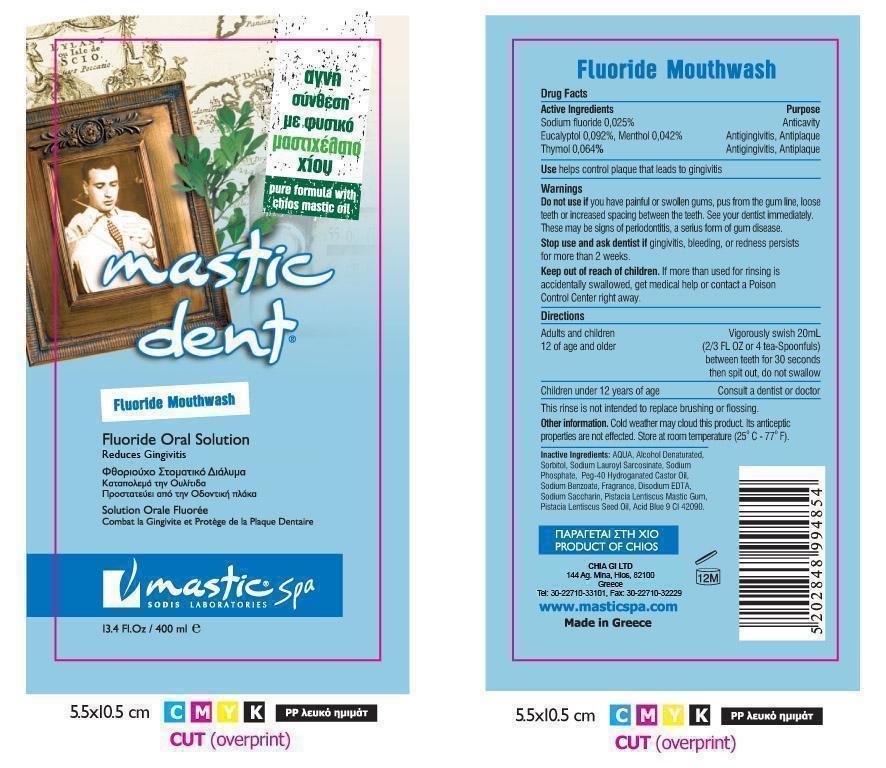 Mastic Dent (Sodium Fluoride, Eucalyptol, Thymol And Menthol) Mouthwash [Chia Gi Ltd]