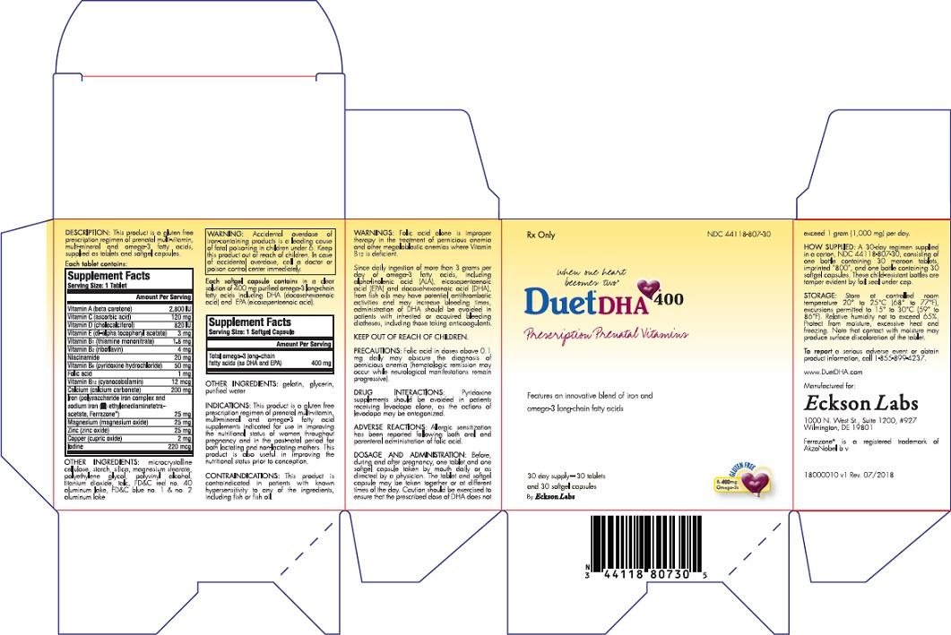 Duet Dha 400 (.beta.-carotene, Ascorbic Acid, Cholecalciferol, .alpha.-tocopherol Acetate, D-, Thiamine Mononitrate, Riboflavin, Niacinamide, Pyridoxine Hydrochloride, Folic Acid, Cyanocobalamin, Calcium Carbonate, Iron, Magnesium Oxide, Zinc Oxide, Cupric Oxide, Iodine, Omega-3 Fatty Acids) Kit [Eckson Labs, Llc]