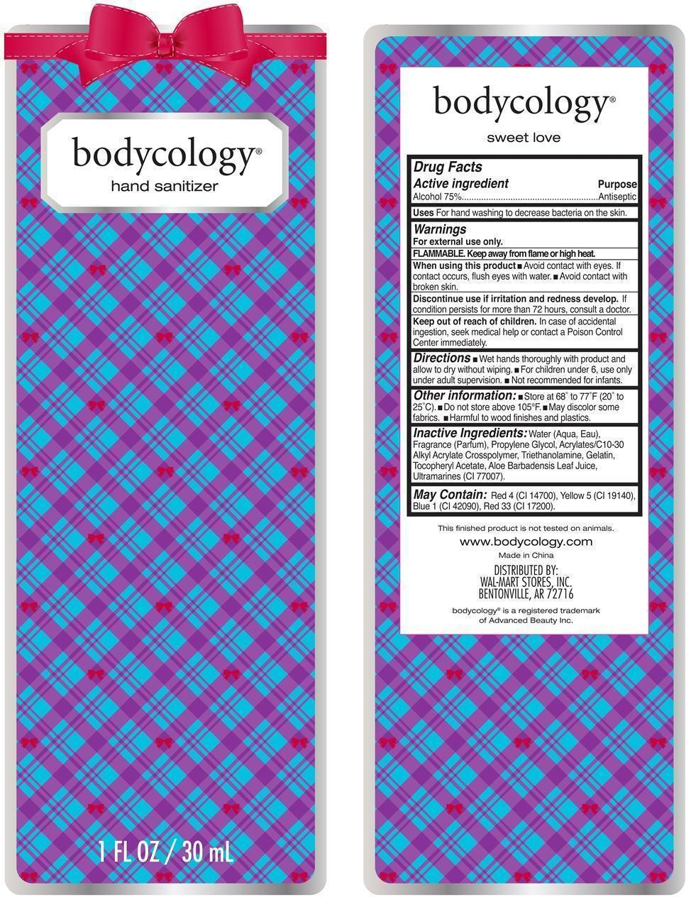 Sweet Love Hand Sanitizer Bodycology (Alcohol) Liquid [Wal-mart Stores Inc]