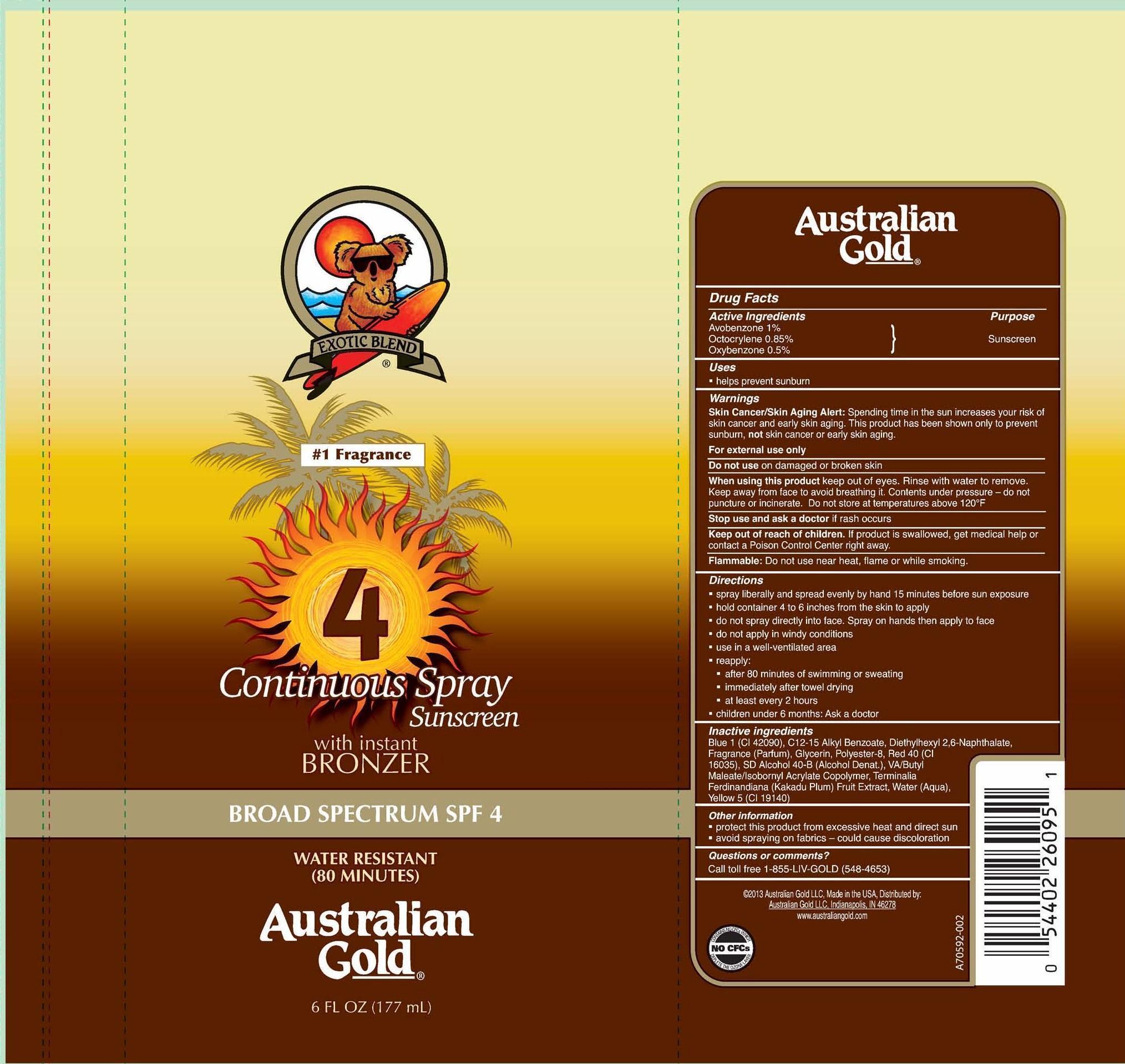 Australian Gold Broad Spectrum Spf 4 (Avobenzone, Octocrylene And Oxybenzone) Spray [Prime Packaging, Inc.]
