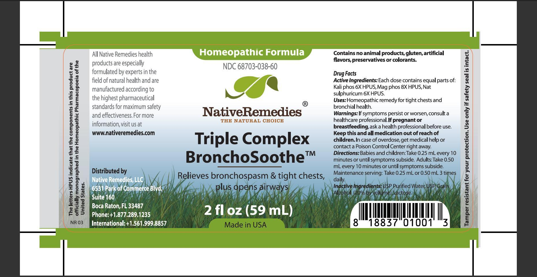 Triple Complex Bronchosoothe (Kali Phos, Mag Phos, Nat Sulphuricum) Tincture [Native Remedies, Llc]