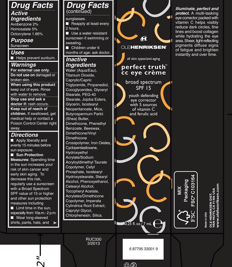 Perfect Truth Cc Eye Broad Spectrum Spf 15 Olehenriksen (Avobenzone, Homosalate, Octocrylene) Cream [Ole Henriksen]
