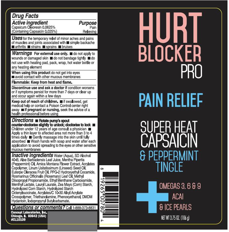 Hurt Blocker Pro Pain Relief (Capsaicin) Cream [Concept Laboratories, Inc.]