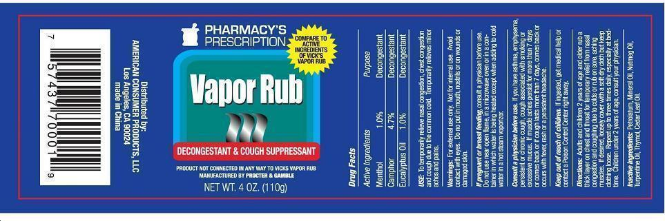 Pharmacys Prescription (Vapor Rub) Gel [Ningbo Liyuan Daily Chemical Products Co Ltd]