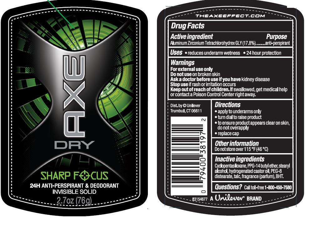 Axe Sharp Focus Invisible Solid Antiperspirant And Deodorant (Aluminum Zirconium Tetrachlorohydrex Gly) Stick [Conopco Inc. D/b/a Unilever]