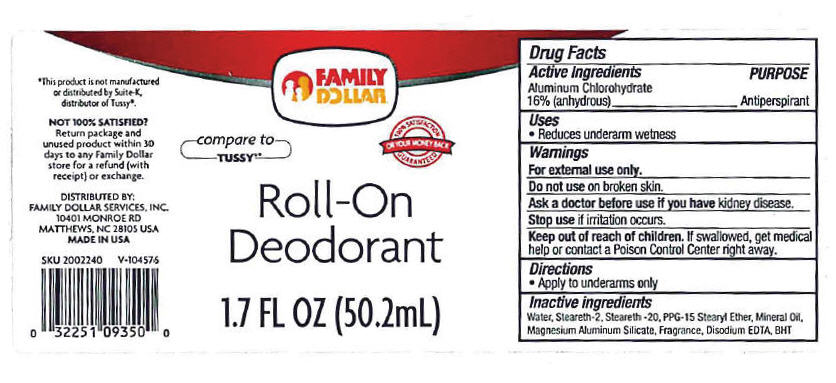 Family Dollar Roll-on Deodorant (Aluminum Chlorohydrate) Lotion [Family Dollar Services,inc.]