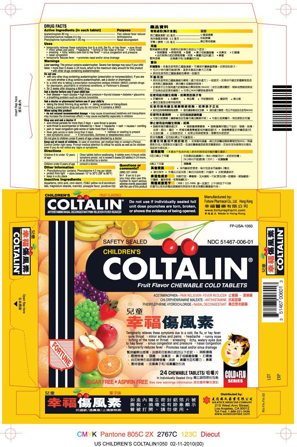 Childrens Coltalin (Acetaminophen, Chlorpheniramine Maleate, Phenylephrine Hydrochloride) Tablet, Chewable [Fortune Pharmacal Company Limited]