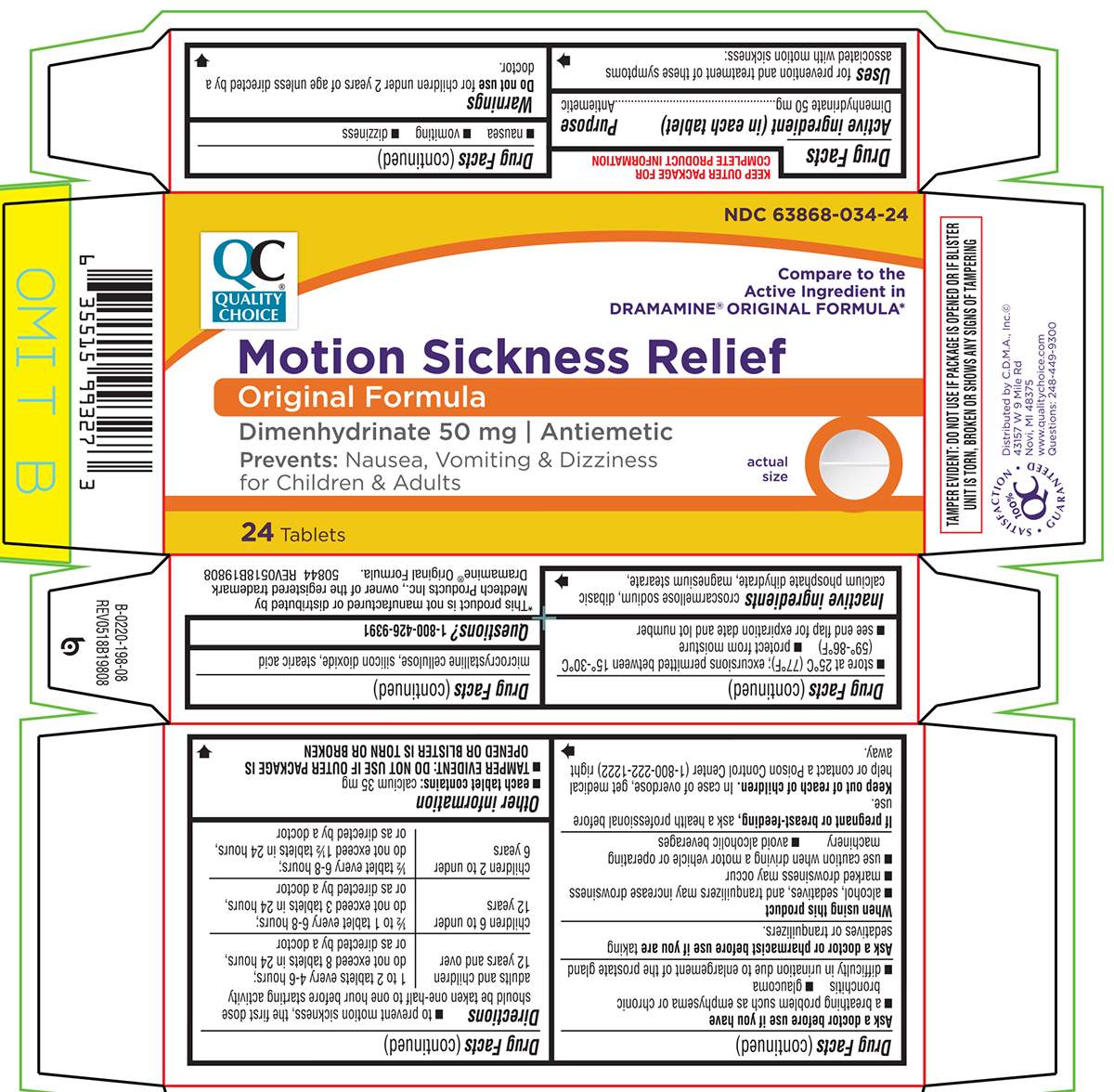 Motion Sickness Relief (Dimenhydrinate) Tablet [Chain Drug Marketing Association Inc]