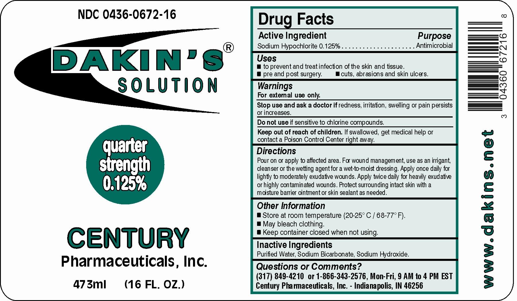 Dakins Quarter (Sodium Hypochlorite) Solution [Century Pharmaceuticals, Inc.]