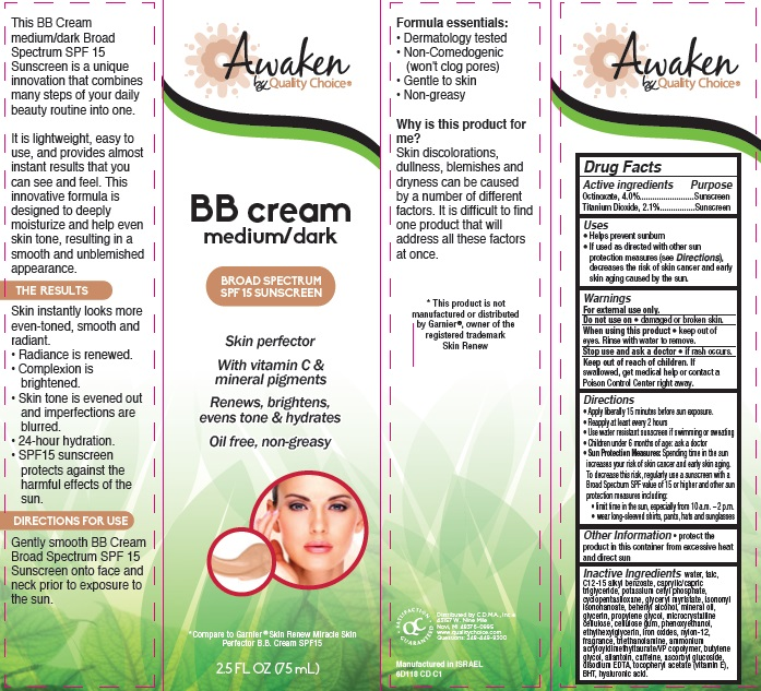 Awaken Skin Perfector Bb Broad Spectrum Spf 15 Sunscreen Medium Dark (Octinoxate And Titanium Dioxide) Cream [Chain Drug Marketing Association]