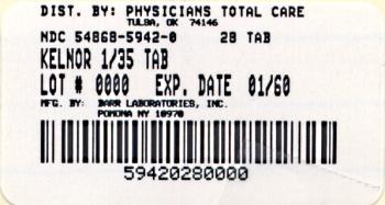 Kelnor 1 mg/35 mcg Tablets Label
