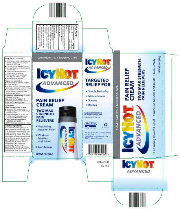 ICY HOT® ADVANCED RELIEF PAIN RELIEF CREAM Net WT 2 OZ (56 g)