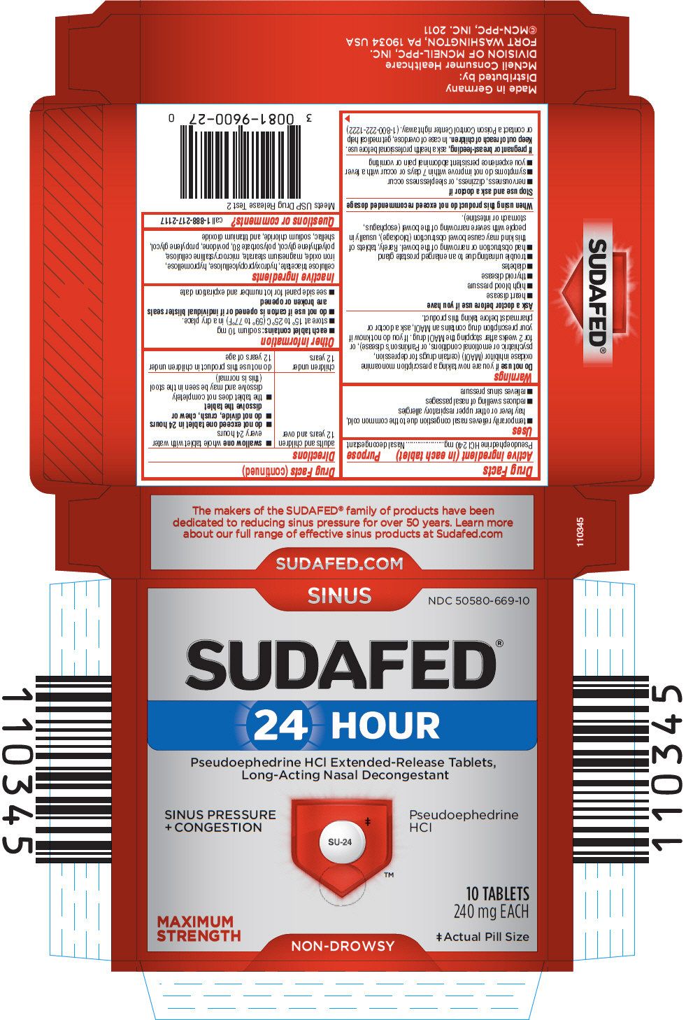 Sudafed 24 Hour (Pseudoephedrine Hydrochloride) Tablet, Extended Release [Mcneil Consumer Healthcare Div Mcneil-ppc, Inc]