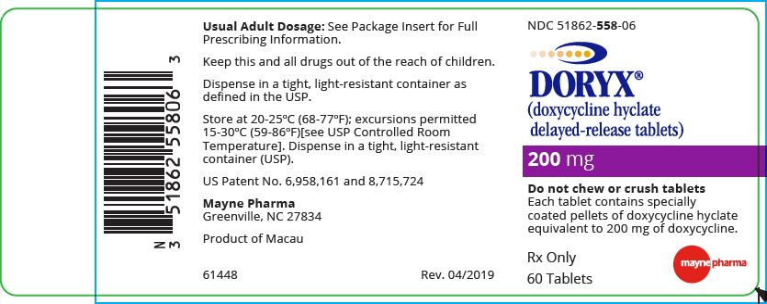Doryx (Doxycycline Hyclate) Tablet, Delayed Release [Mayne Pharma]