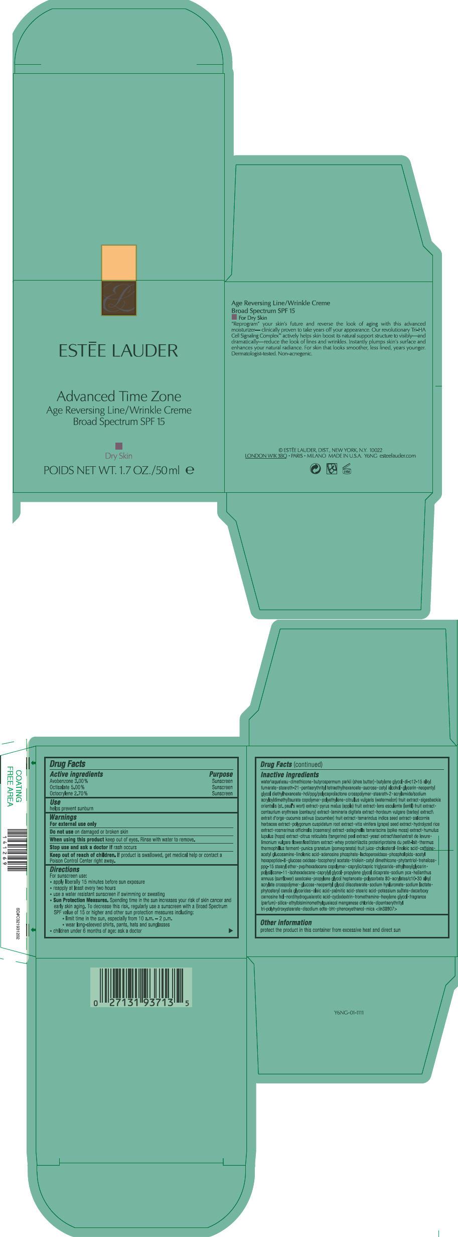 Advanced Time Zone Age Reversing Line Wrinkle Broad Spectrum Spf 15 Dry Skin (Avobenzone, Octisalate, And Octocrylene) Cream [Estee Lauder Inc]