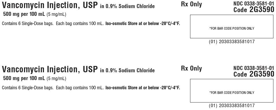 Vancomycin Representative Carton Label 0338-3582-01 panel 1 of 3