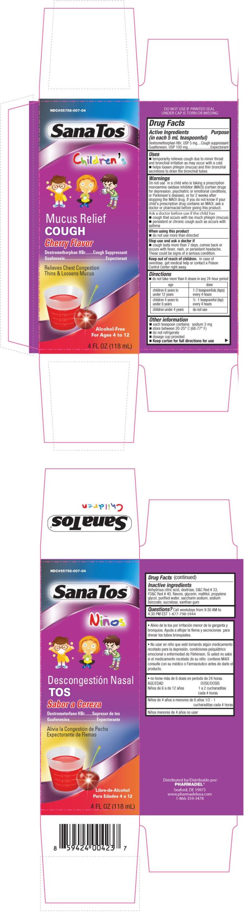 Sanatos Childrens Mucus Relief Cough (Dextromethorphan Hydrobromide And Guaifenesin) Liquid [Pharmadel Llc]