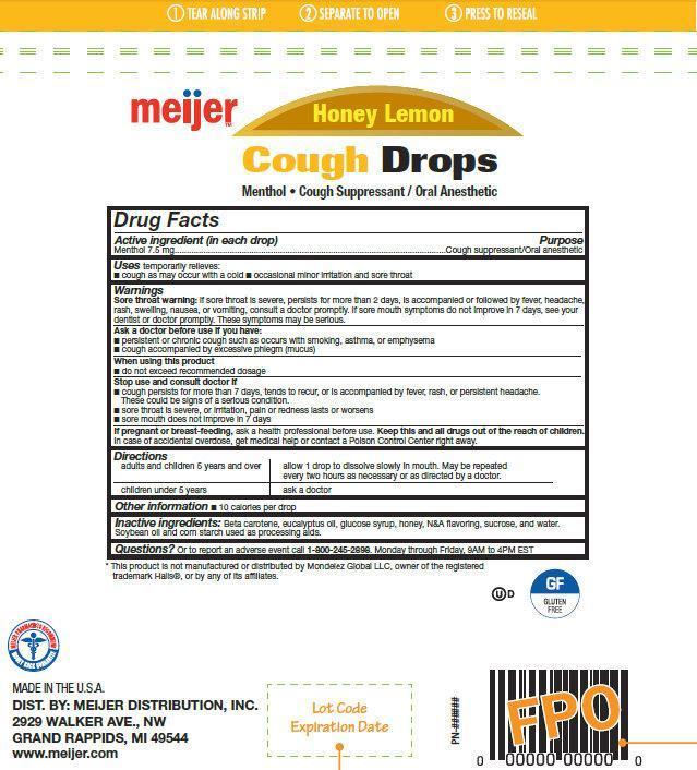Meijer Honey Lemon Cough Drops (Menthol) Lozenge [Meijer Distribution, Inc ]
