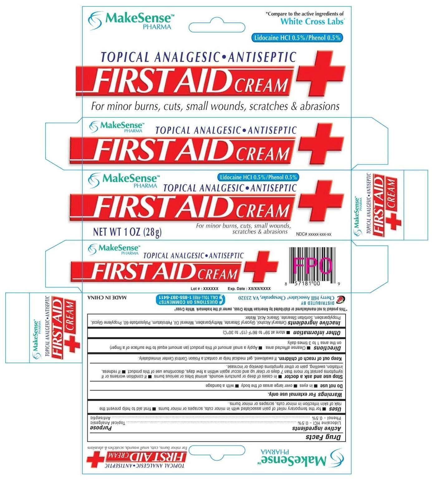 Makesense First Aid (Lidocaine Hydrochloride Phenol) Cream [Cherry Hill Sales Co]
