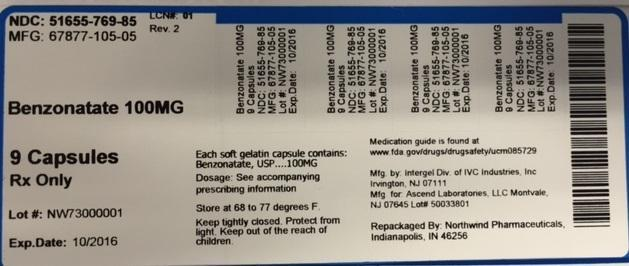 Benzonatate Tablet [Northwind Pharmaceuticals, Llc]