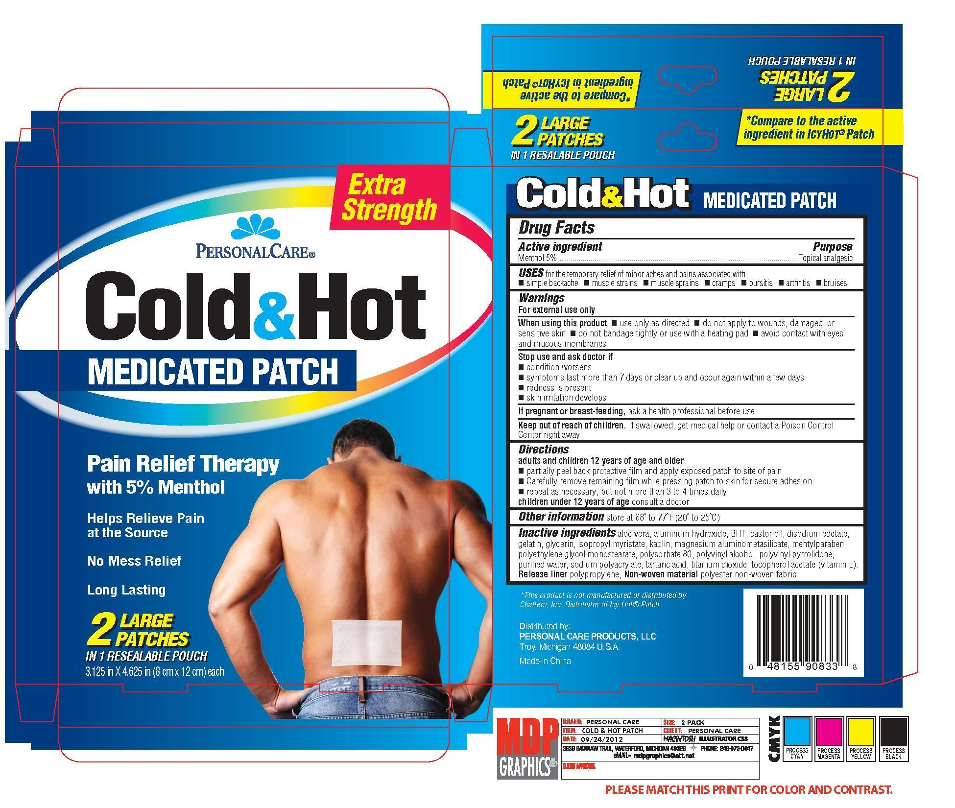Personal Care Extra Strength Cold Hot (Menthol) Patch [Personal Care Products, Llc]