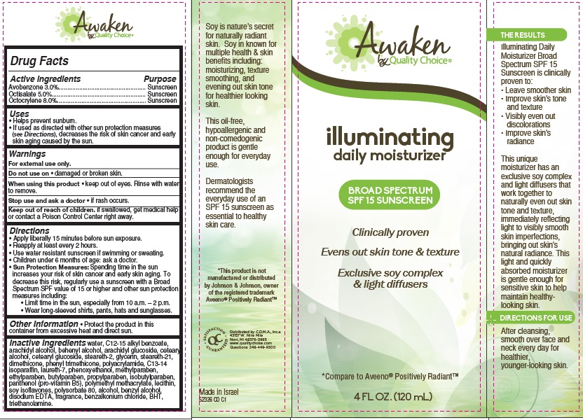 Awaken By Quality Choice Illuminating Daily Moisturizer Broad Spectrum Spf 15 Sunscreen (Avobenzone, Octisalate And Octocrylene) Cream [Chain Drug Marketing Association]