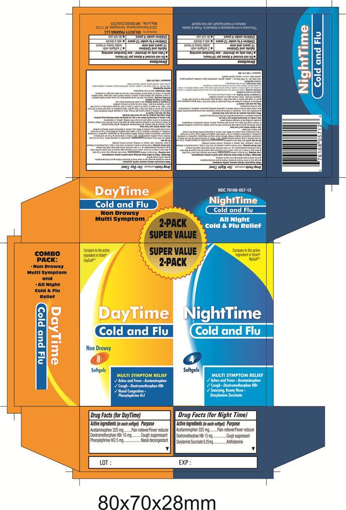 Daytime Nighttime Cold/flu (Acetaminophen, Dextromethorphan Hbr, Doxylamine Succinate, Phenylephrine Hcl) Kit [Velocity Pharma]