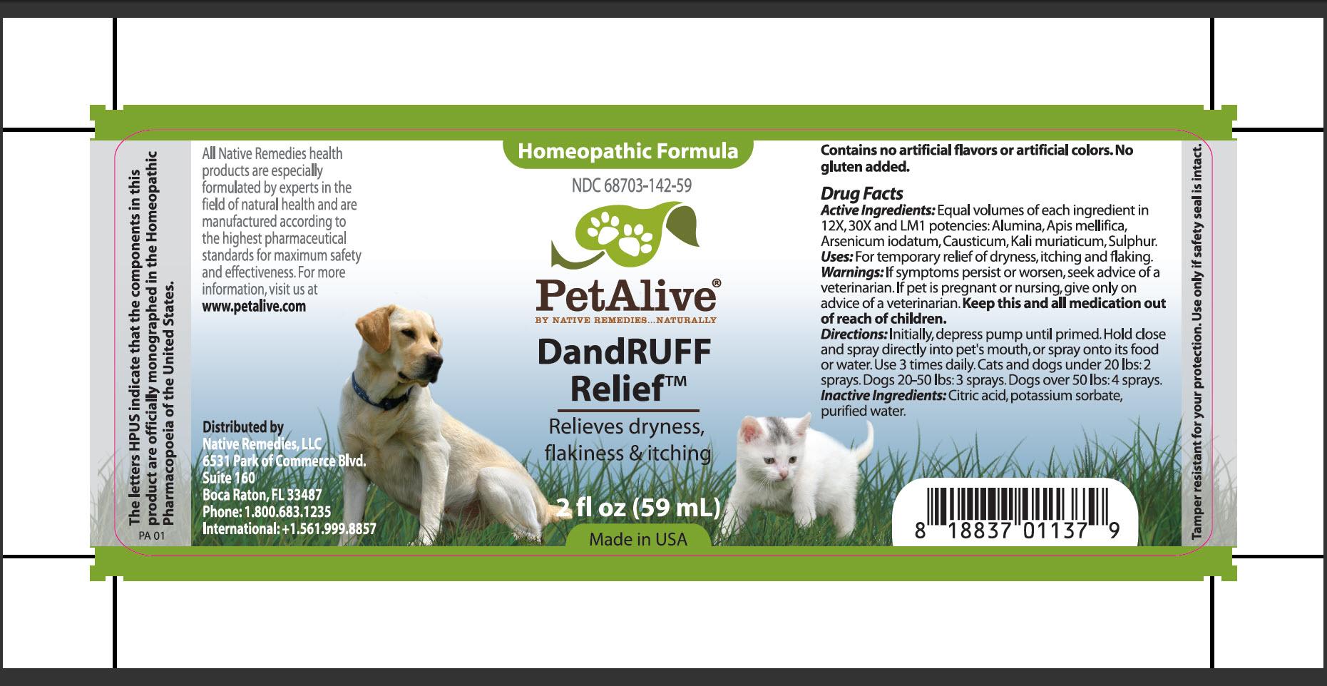 Dandruuf Relief (Alumina, Apis Mellifica, Arsenicum Iodatum, Causticum, Kali Muriaticum, Sulphur) Spray [Native Remedies, Llc]