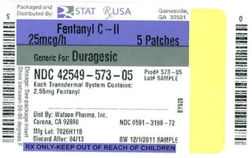 NDC 42549-573-05  Fentanyl Patch  25mcg #5  patch(s) CII Rx Only