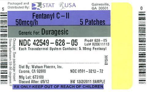 NDC 42549-628-05  Fentanyl Patch  50 mcg #5 patch(s) CII Rx Only
