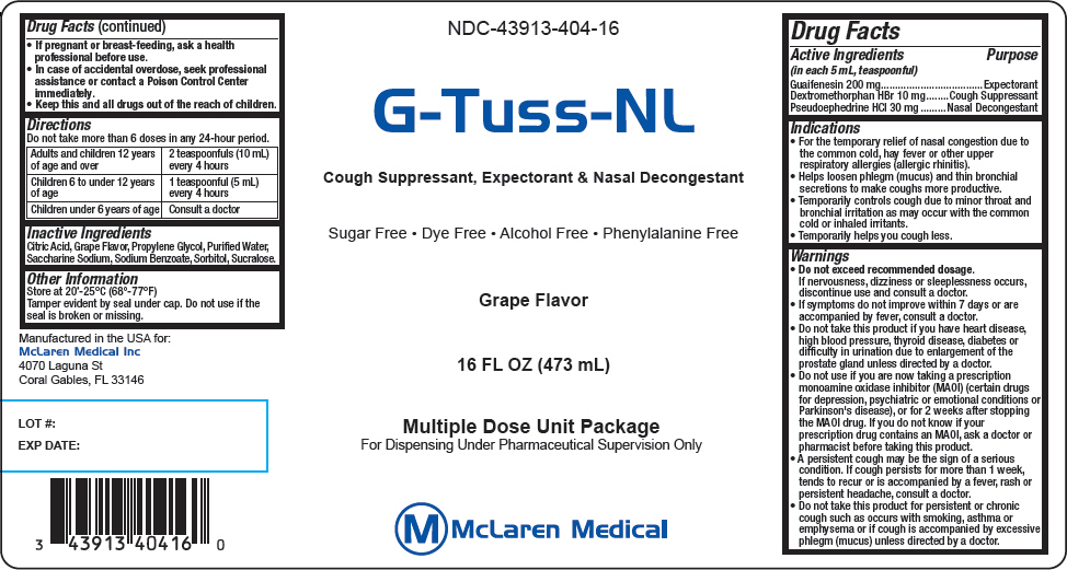 G-tuss-nl (Dextromethorphan Hydrobromide, Guaifenesin, And Pseudoephedrine Hydrochloride) Liquid [Mclaren Medical]