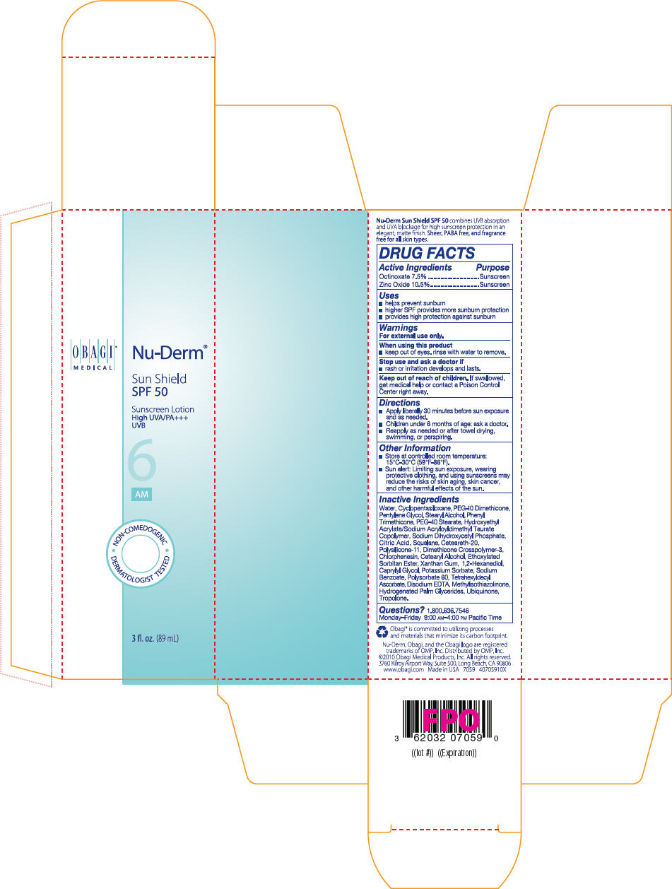 Nu-derm Sun Shield Spf 50 Sunscreen (Zinc Oxide And Octinoxate) Lotion [Omp, Inc.]