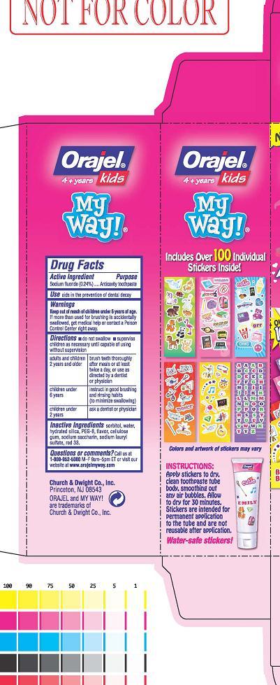 Orajel Kids My Way Anticavity Toothpaste (Sodium Fluoride) Gel, Dentifrice [Church & Dwight Co., Inc.]