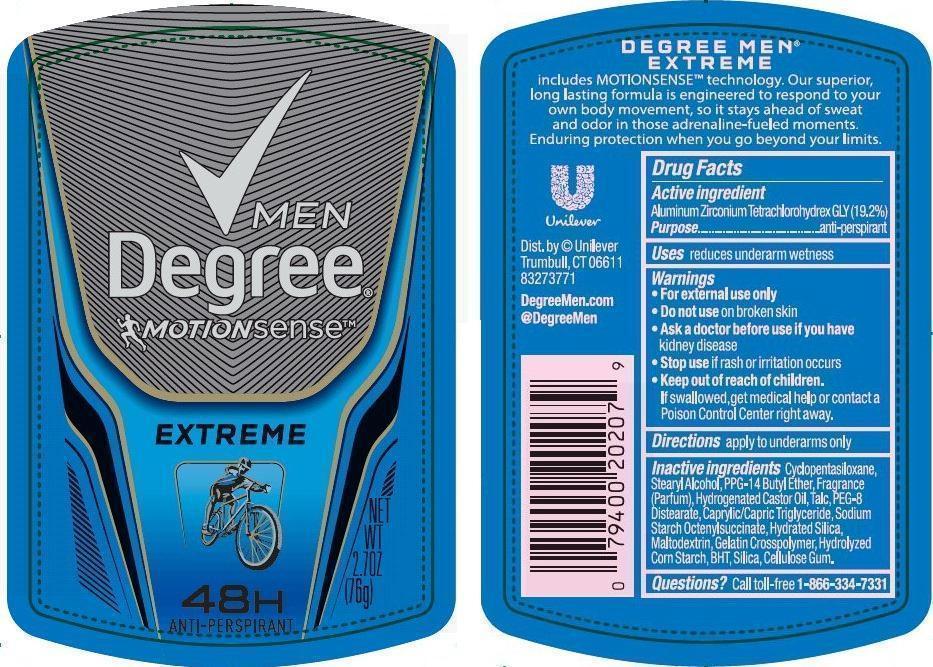 Degree Motionsense Extreme Antiperspirant Deodorant (Aluminum Zirconium Tetrachlorohydrex Gly) Stick [Conopco Inc. D/b/a Unilever]