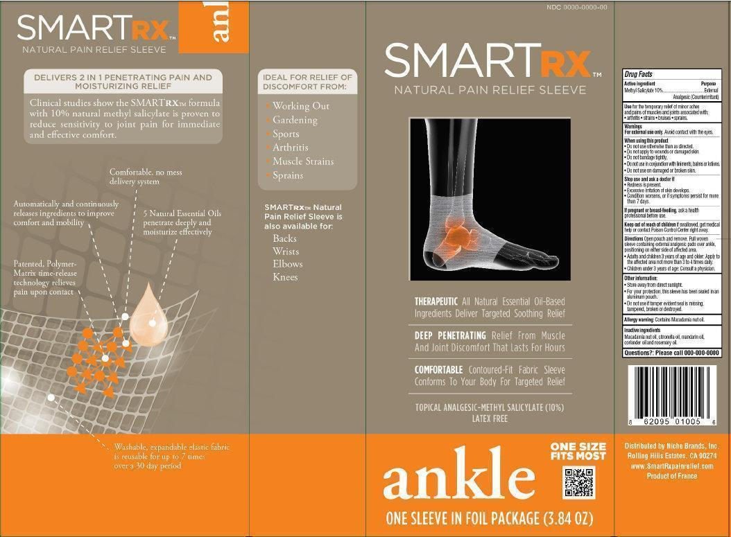 Smartrx Natural Pain Relief Sleeve Ankle (Methyl Salicylate) Liquid [Niche Brands, Inc.]