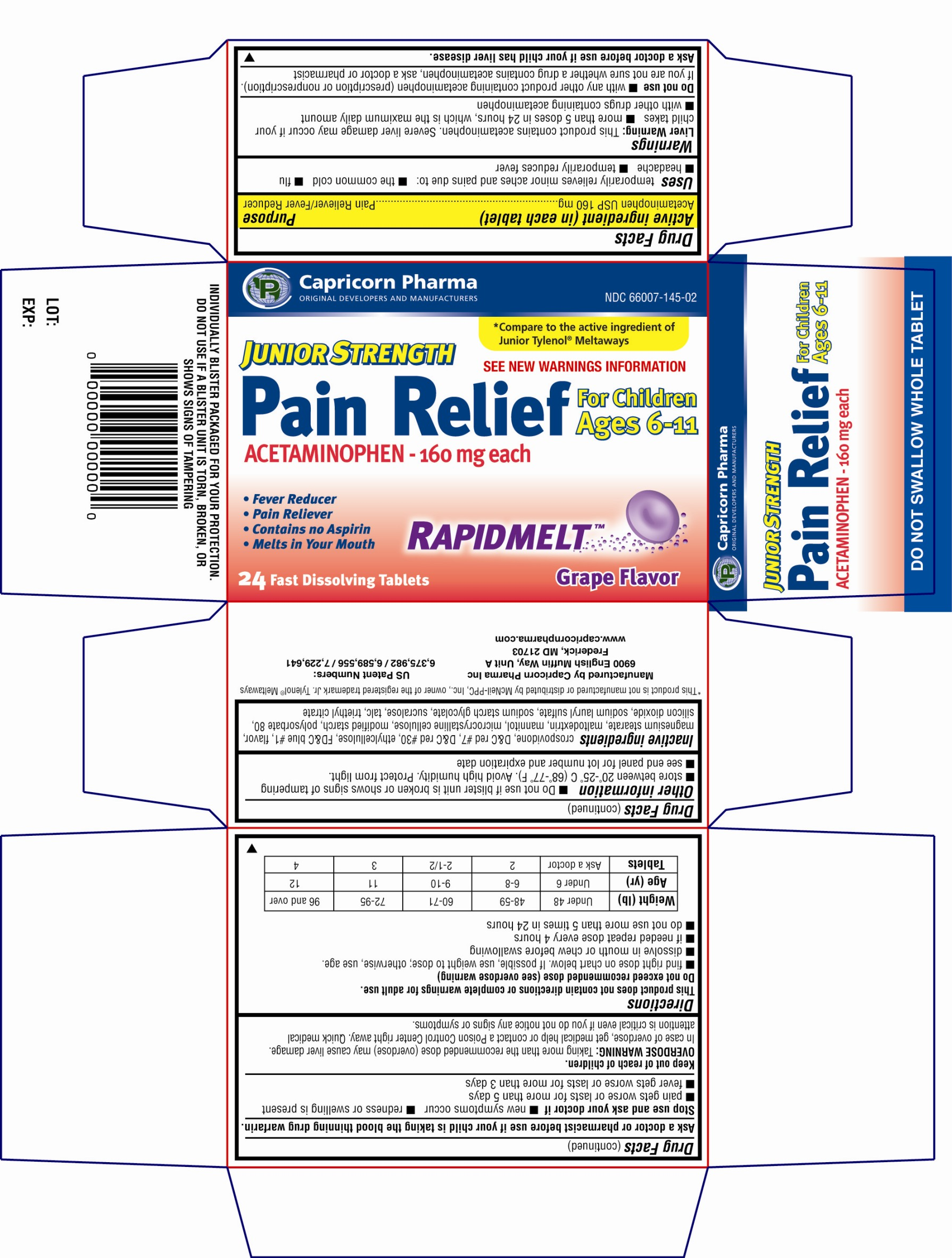 Junior strength Pain Relief Acetaminophen 160mg