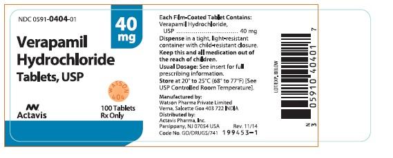 Verapamil Hydrochloride Tablets, USP 40 mg
