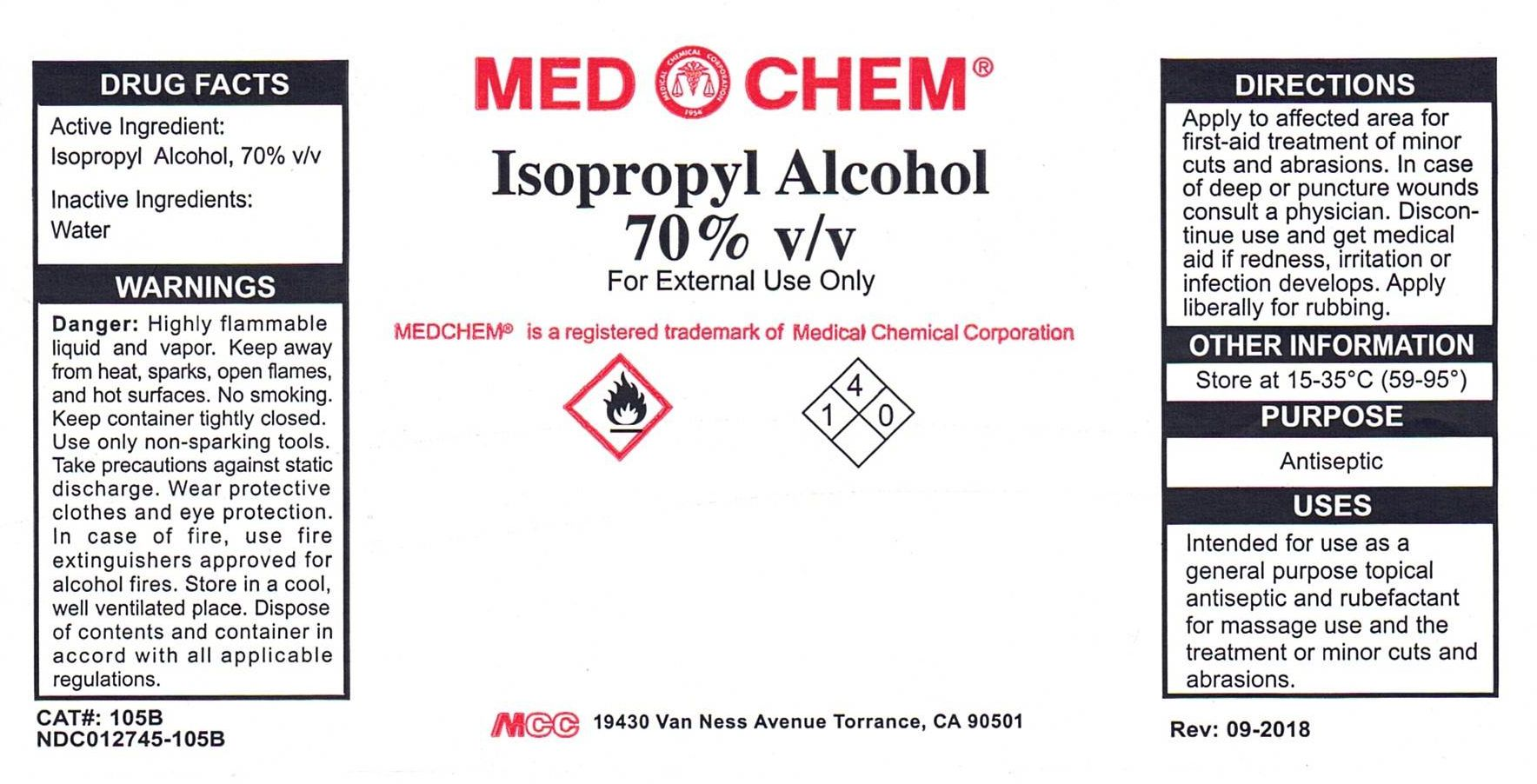 Isopropyl Alcohol Liquid [Medical Chemical Corporation]