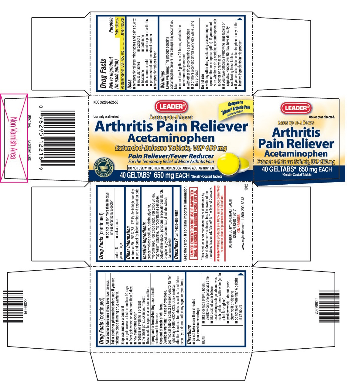 This is the 40 count bottle carton label for Leader Acetaminophen extended-release tablets, USP 650 mg (geltabs).