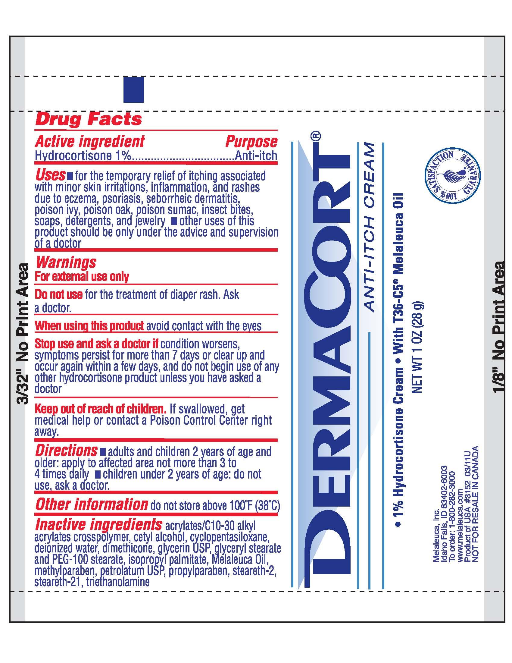 Dermacort Anti-itch (Hydrocortisone) Cream [Melaleuca, Inc.]