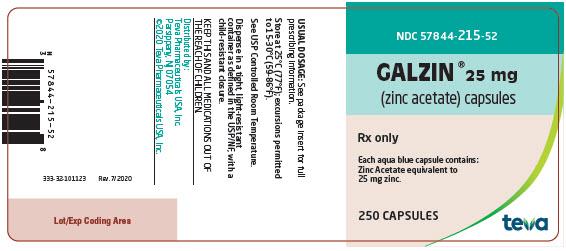 Galzin® (zinc acetate) Capsules 25 mg, 250s Label