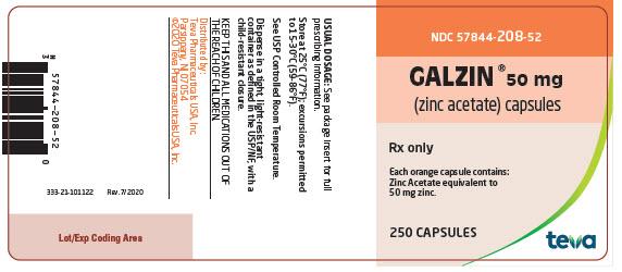 Galzin® (zinc acetate) Capsules 50 mg, 250s Label